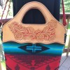 Hand tooled Leather and Turquoise/Red/Black Wool Handbag