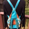 Turquoise Wool and Leather Purse/Backpack
