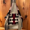 Gray/Black/Red Wool and Leather Backpack/Sling Bag
