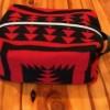 Red/Black Wool Travel Toiletry Bag