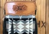 Hand Tooled Leather and Wool Handbag
