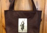 Brown Leather Vintage Photo Totebag