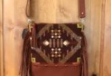 Brown/Rust Wool and Leather Cross-body Purse