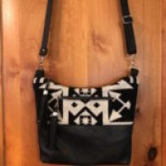 Black and White Wool/Leather Cross-body Purse