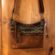 Brown Suede Leather and Olive Green Wool Cross-body Purse