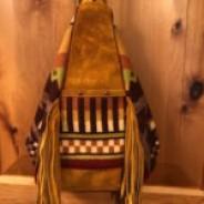 Buckskin Suede Leather and Gold/Brown Tones Wool Sling Bag/Backpack