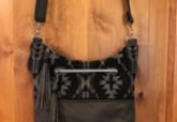Gray and Black Wool/Leather Cross-body Purse