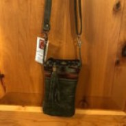 Olive Green and Brown Tones Wool/Leather Cross-body Hipster Purse